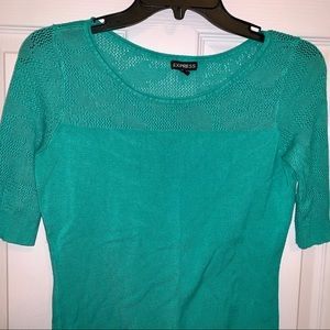 Express Sweater Turquoise Light Knit